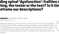 Finding spinal 'dysfunctions': frailties of testing, the tester or the test? Is it time to reframe our descriptions?